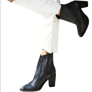NEW Free People Western Chunky Heel Leather Boots